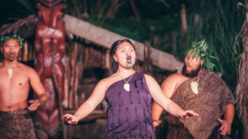 Maori woman singing on stage