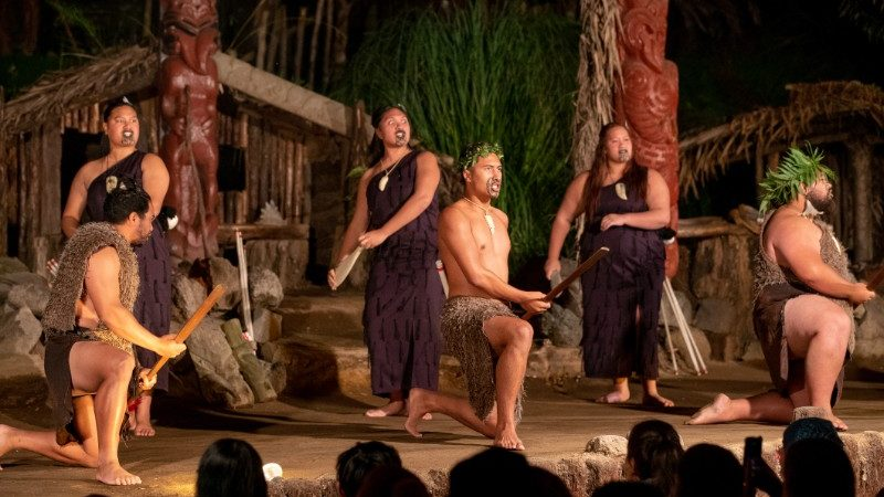 Maori performers in on stage