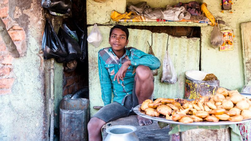 Man selling street food in Kolkata India