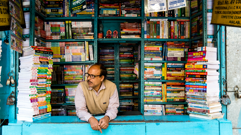 Brightly coloured book stall in Kolkata, India