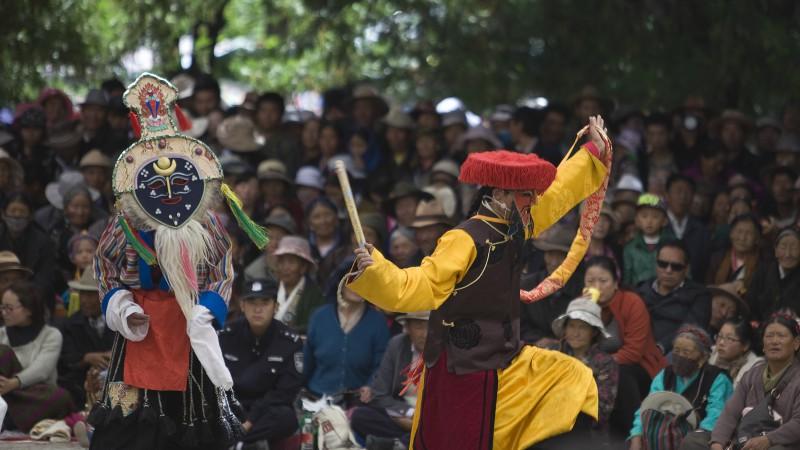 Tibetan opera performance in Lhasa, Tibet