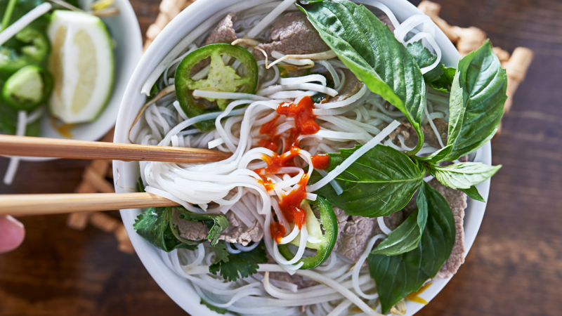 Pho, a traditional Vietnamese breakfast