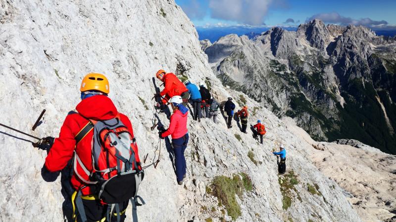 Climbers near the summit of Mount Triglav, Slovenia