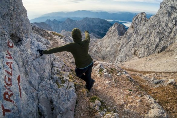 Climber makes ascent to Mount Triglav peak