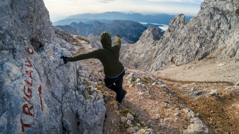 Climber makes ascent to Mount Triglav peak