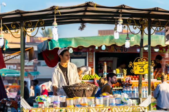 Street food stall in Jeema El Fna market square