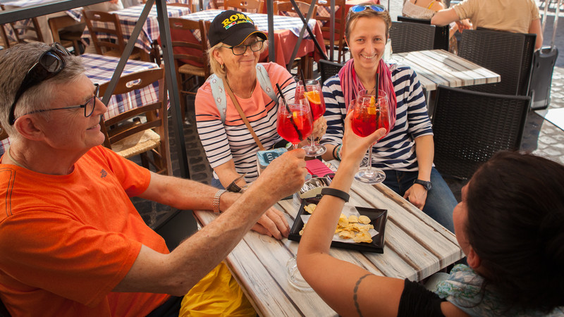 Travellers drinking in Rome
