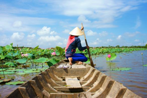 Canoeing on the Mekong Delta, Vietnam