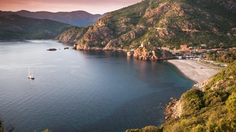 Corsica coastline at dusk
