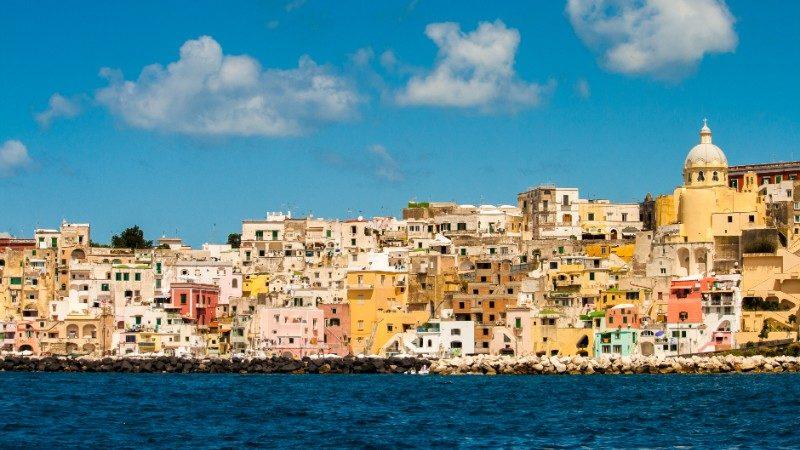 Colourful houses on the Procida coastline