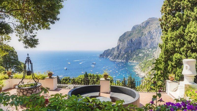 Fountain and gardens in Capri, Italy