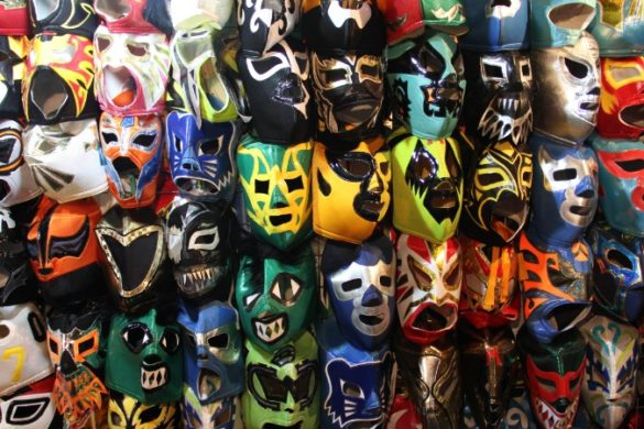"A selection of colorful ""Lucha Libre"" Mexican professional wrestling masks"