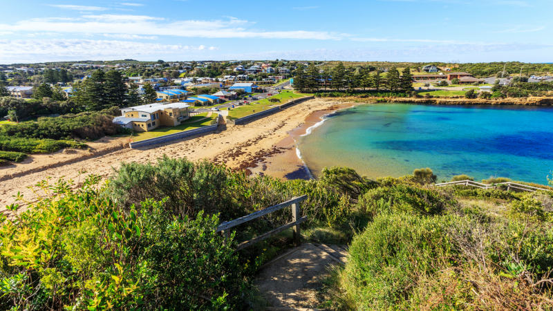 Coastline and town of Apollo Bay