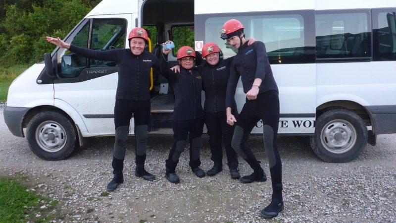 Travellers preparing for Waitomo Caves