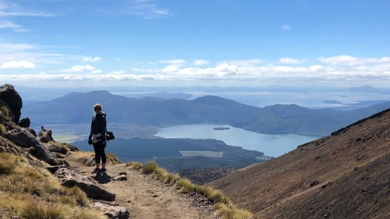 Traveller on Tongariro Alpine Crossing