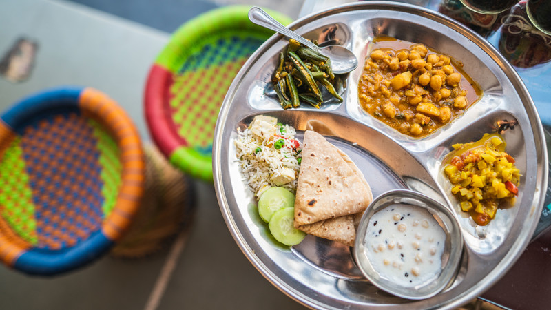 Plate of food in Udaipur, India