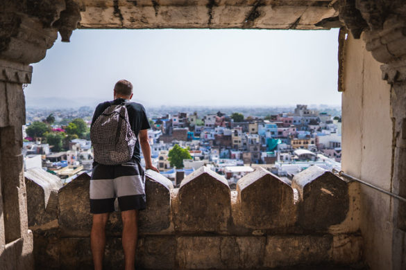Man looks out over Udaipur, India