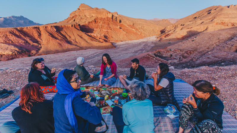 Picnic dinner in the Moroccan mountains