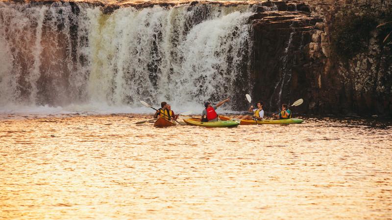 Kayakers at Haruru Falls