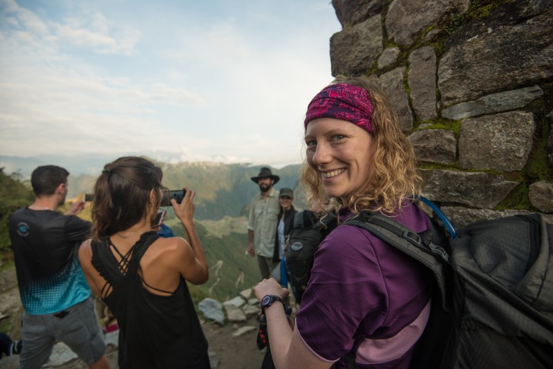 Group poses for photos on Inca Trail