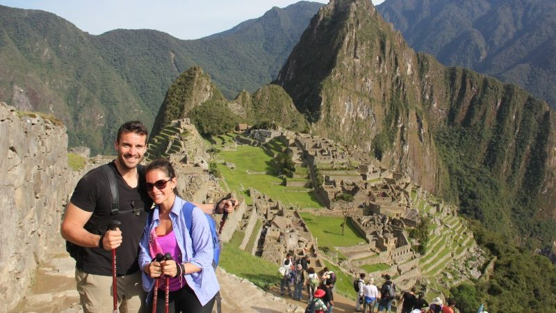 couple above Machu Picchu