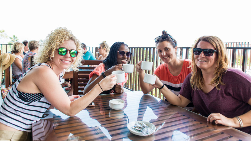 group drinking tea in Sri Lanka