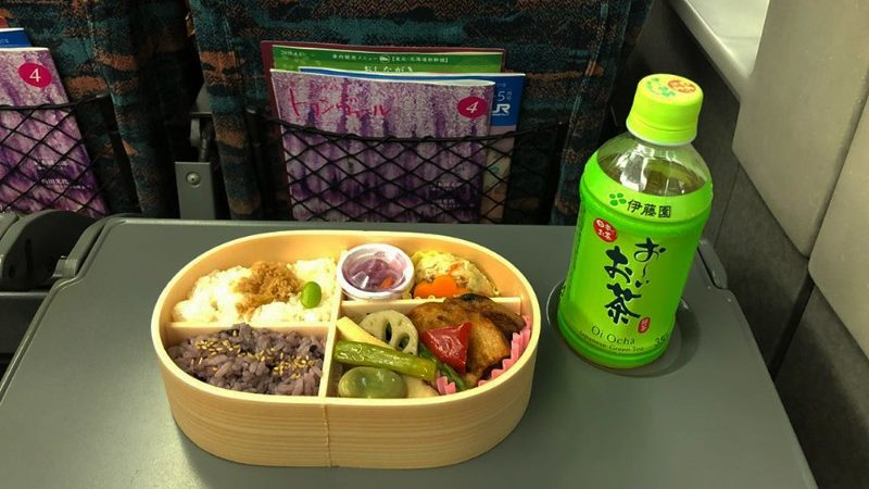 Inside the bento box.
