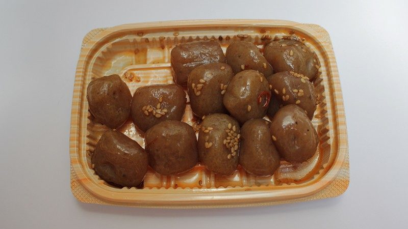 Balls of konyakku on a plate