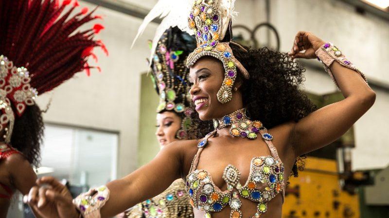 Brazilian woman dancing samba.