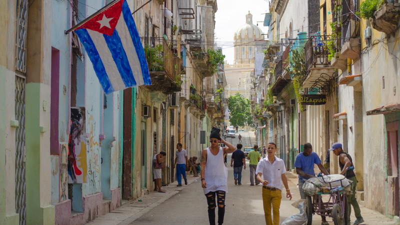 Cuban flag hanging in the street