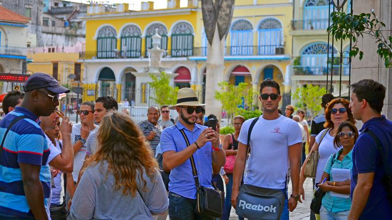 group of tourists in Havana, Cuba