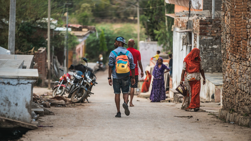 traveller walking through India