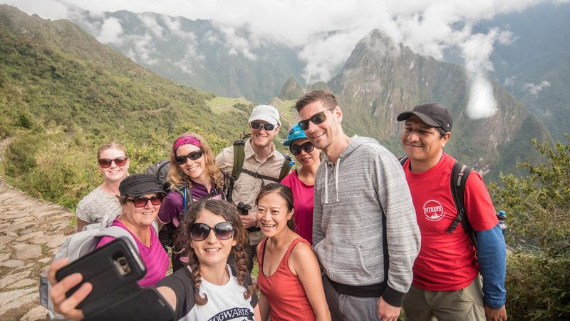 A group of trekkers on the Inca Trail