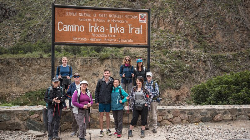 Trekkers at the start of the Inca Trail