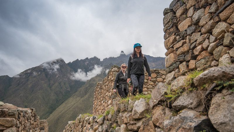 Trekking between ruins on the Inca Trail
