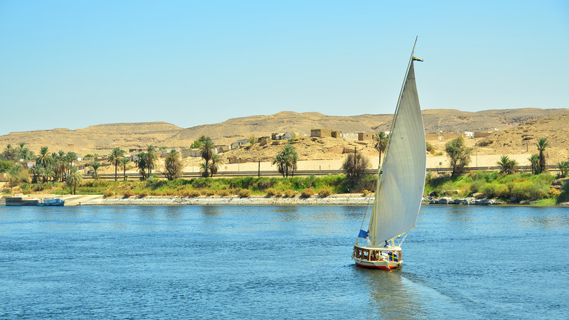 Felucca cruising the Nile in Egypt