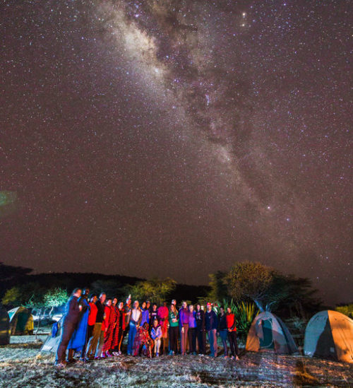 Night sky over campers in Loita Hills Kenya