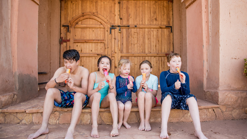 Five kids eating ice cream in Morocco