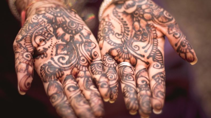 Hands painted with henna