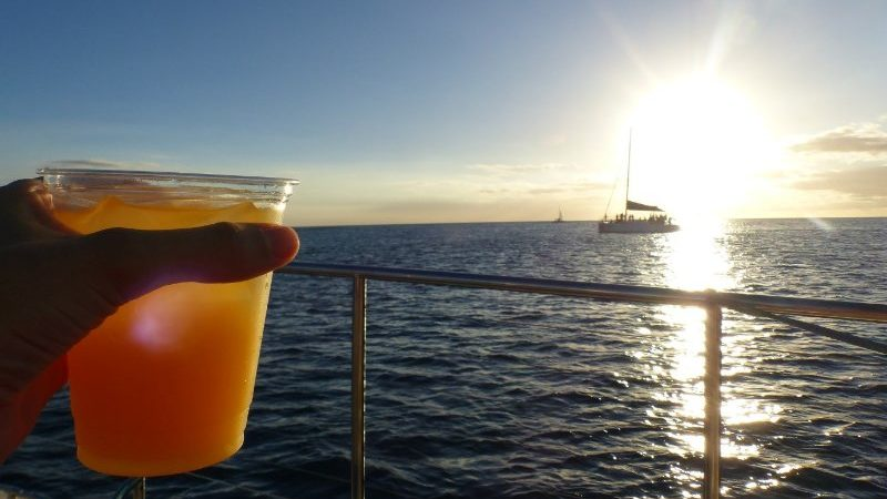 Cocktails on the boat.