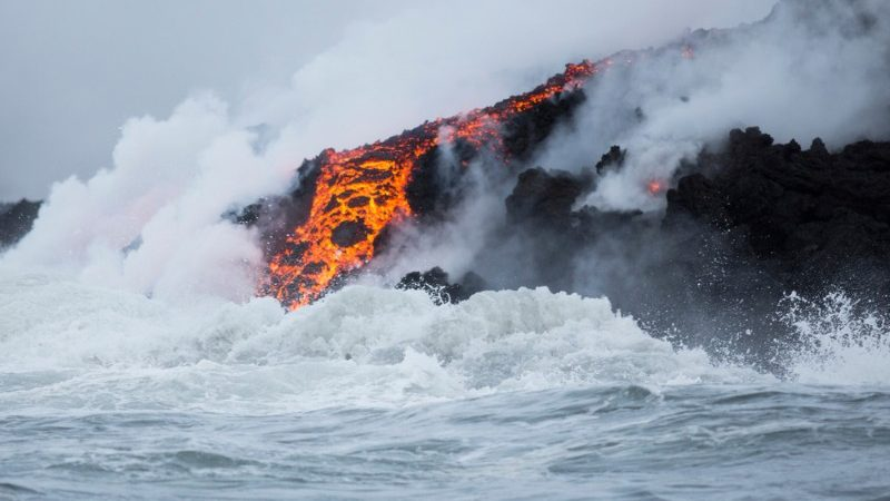 Lava flow hits the ocean in Hawaii