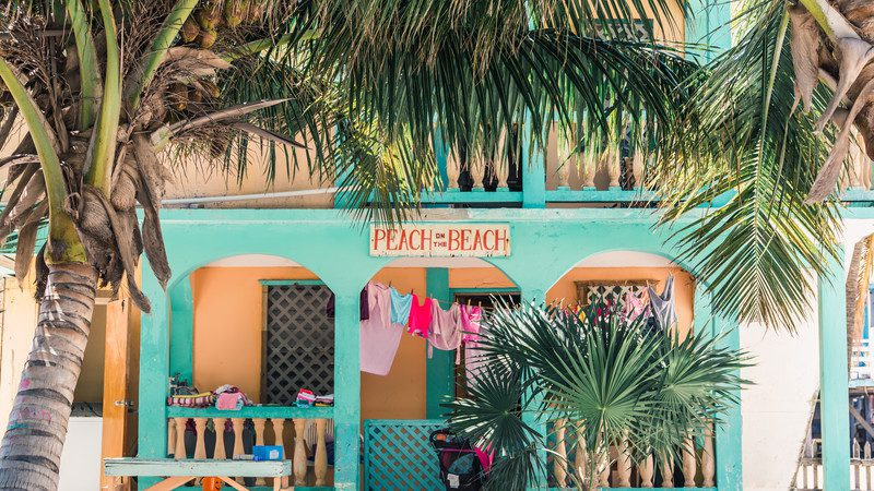 Brightly coloured cafe in Belize