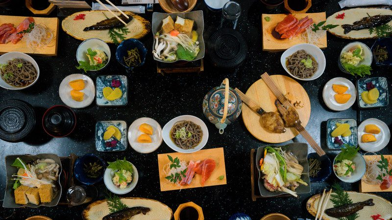 A meal in a Japanese ryokan