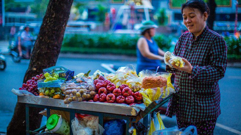 Street vendor selling fresh fruit