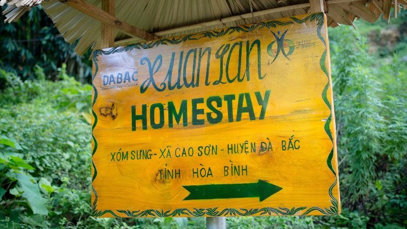 A sign to a homestay in Vietnam