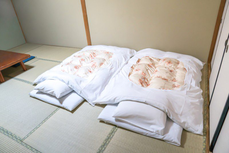 Two beds on the floor in a ryokan