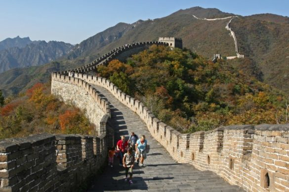 Family walking the Great Wall of China