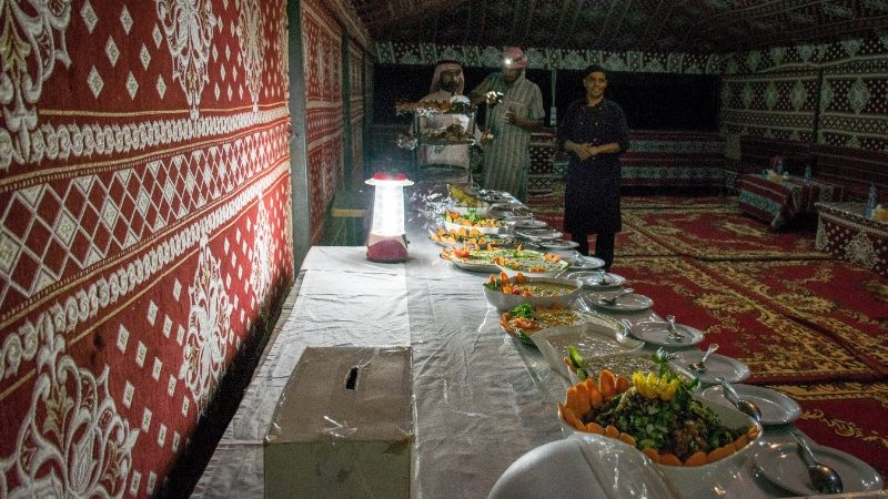 A meal in a Bedouin tent