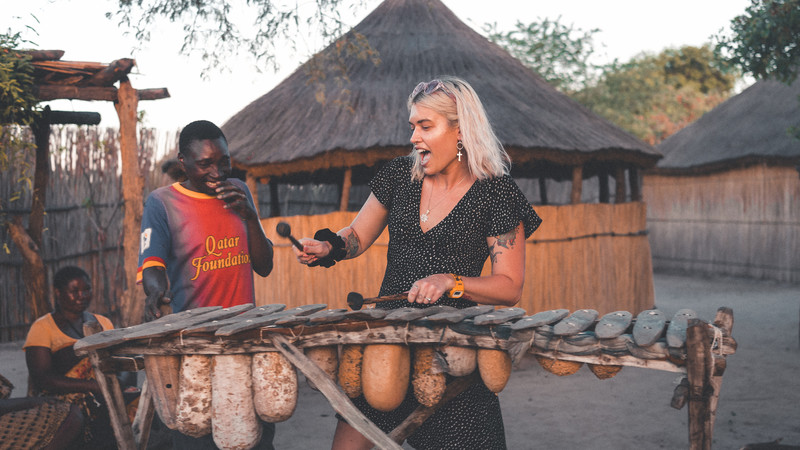 Playing music at a camp in Botswana