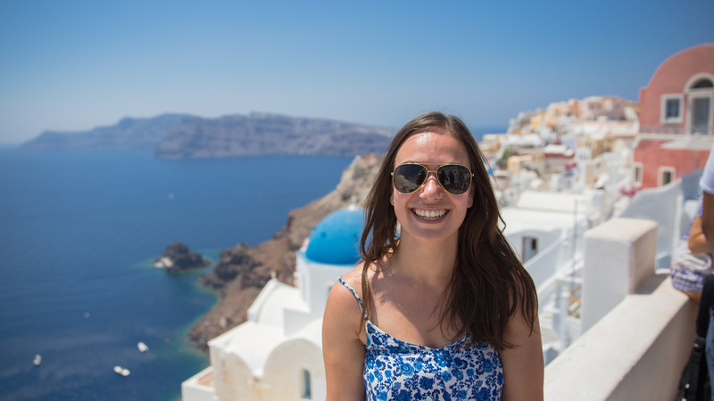 A smiling woman in Greece